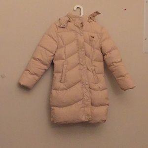 Long Cream Puffer Jacket